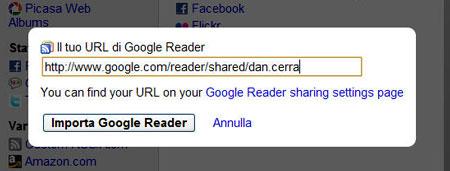 La finestra di configurazione di Google Reader