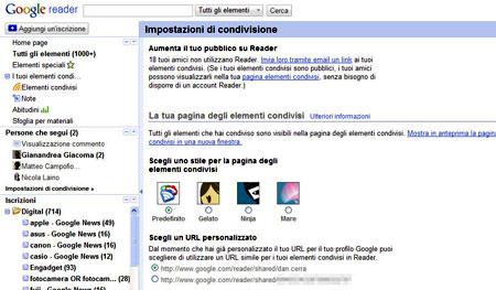 Le impostazione di condivisione di Google Reader