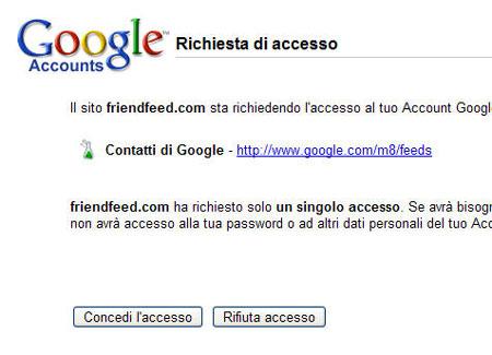 Una richiesta di accesso per contatti di Google