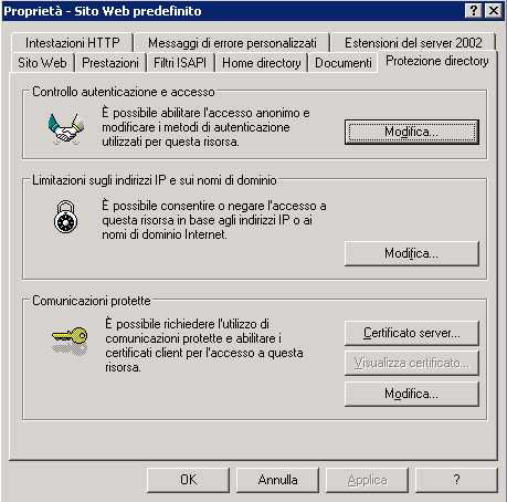 Pannello Protezione directory
