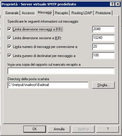 Pannello Server virtuale predefinito