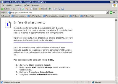 Pagina Web locale con il server installato