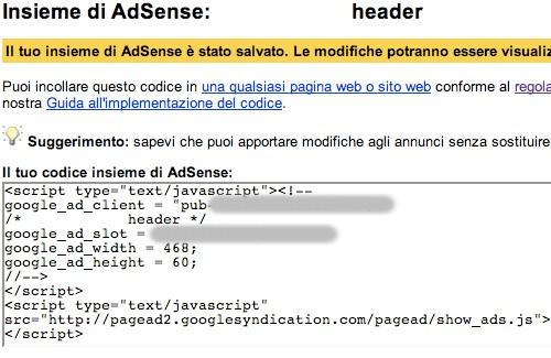 Codice JavaScript dell'annuncio