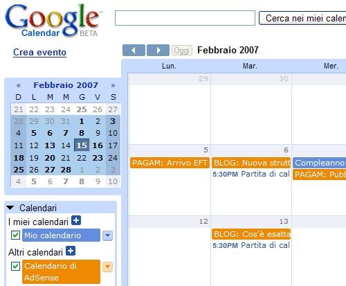 Calendario AdSense