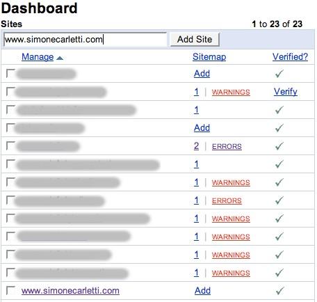 Elenco siti Webmaster Tools