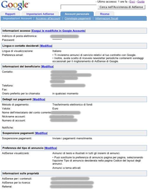 Pagina configurazione base dell'account