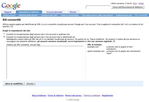 Form per l'inserimento di siti consentiti