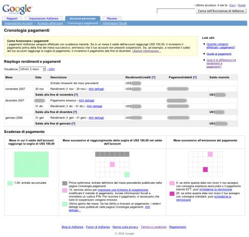 Pagina Cronologia dei pagamenti