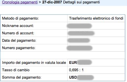 Dettaglio dei pagamenti