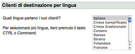 Targeting per lingua in AdWords