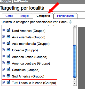 Targeting per località in AdWords