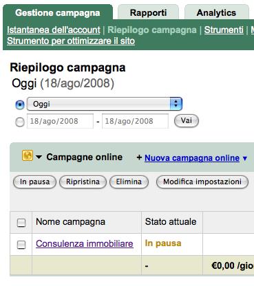 Pannello Riepilogo campagna