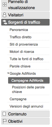 Accesso ai report AdWords su Google Analytics