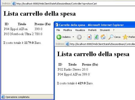 Esecuzione della web application