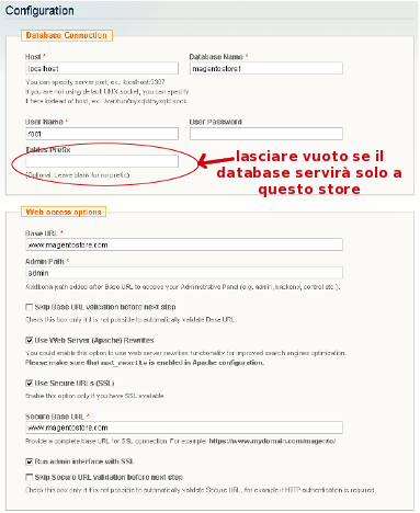 Magento parametri database
