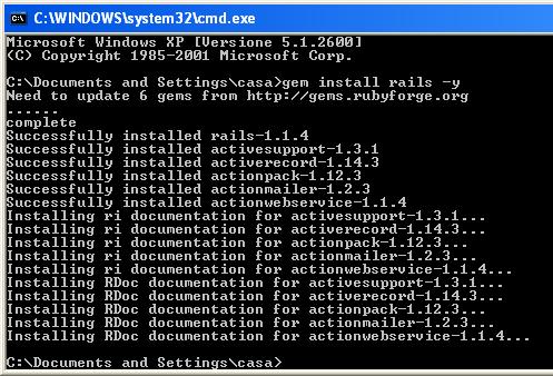Finestra del prompt del DOS con i comandi eseguiti da gem