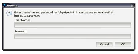 inserimento delle credenziali di login