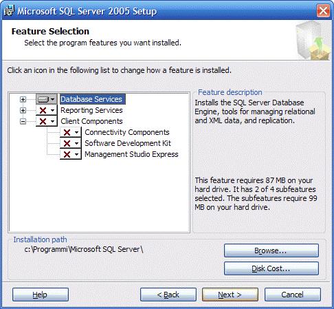 Opzioni di Sql Server
