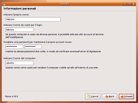 6: Scelta Utente e Password