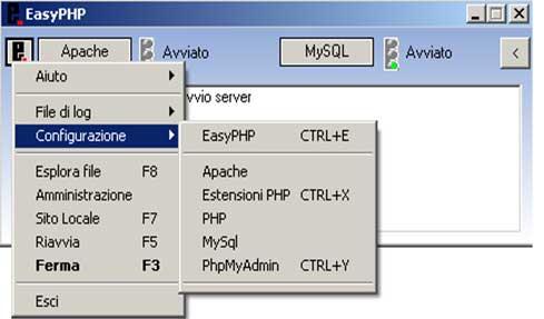 Finestra di configurazione EasyPHP