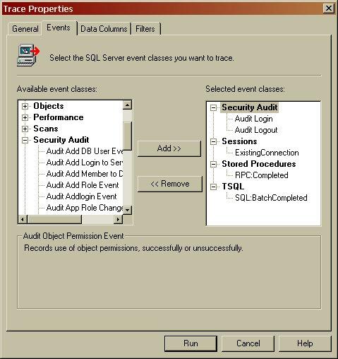 Impostazione delle proprietà del Trace mediante SQL Profiler