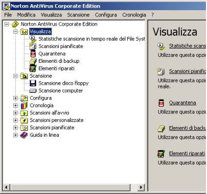 La console del Norton antivirus
