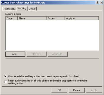 Impostazione dell'auditing sul filesystem