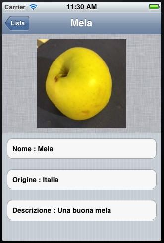 Schermata di visualizzazione del dettaglio dei dati di un frutto per l'applicazione demo
