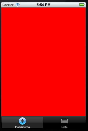 Schermata dell'applicazione con tab contenente un'icona