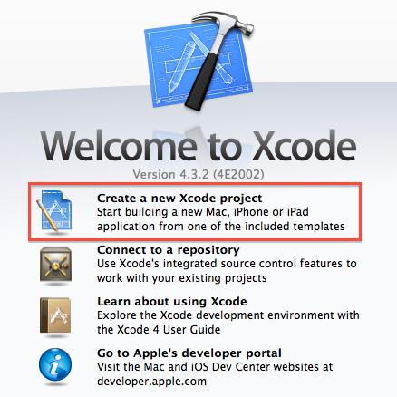 Figura 8: Finestra iniziale di Xcode per la creazione di un nuovo progettoC