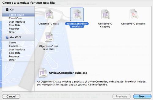 Figura 19: Creazione di un nuovo View Controller selezionando la tipologia della classe