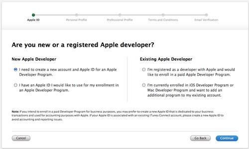 Figura 2: Schermata iniziale per la registrazione al developer program