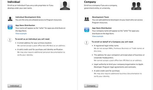 Figura 3: Schermata per la scelta tra la registrazione individuale o come azienda