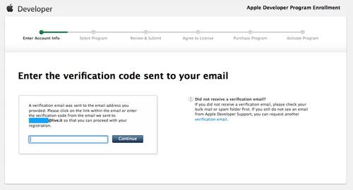 Figura 4: Inserimento del codice di attivazione per terminare la registrazione al developer program