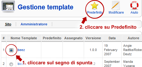 Gestione template