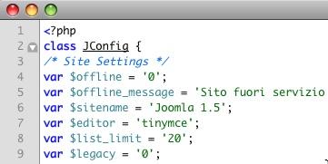 Il file configuration.php