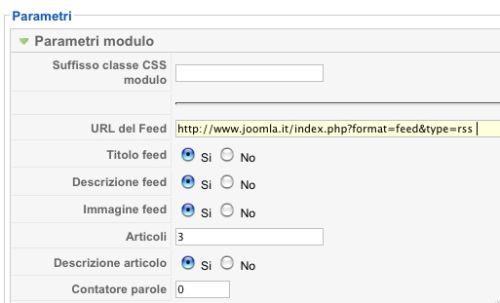 I parametri del modulo feed