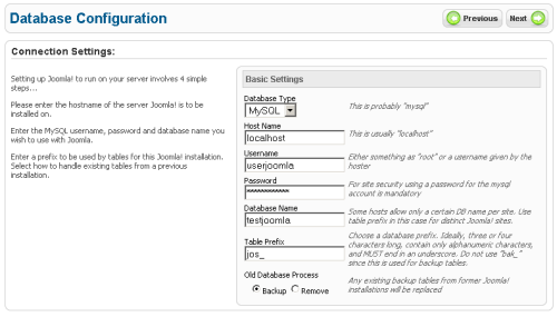 Impostazione del database