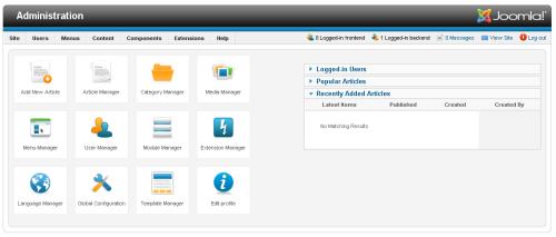 Joomla 1.6 area amministrazione