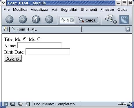 form HTML per  inviare dei dati