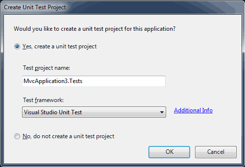 Richiesta di creazione di un progetto di unit testing per applicazioni MVC