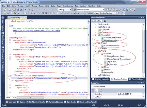 Figura 12. L'autenticazione nel template di ASP.NET MVC 2.0 di Visual Studio 2010