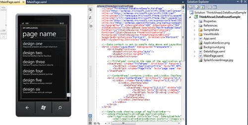 IIl progetto generato automaticamente dal template DataBound Application