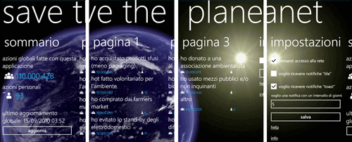 UI dell'app SAVE THE PLANET