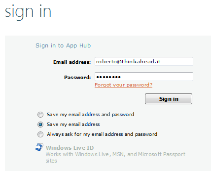 Login con Windows Live