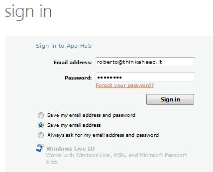 Login con Windows Live
