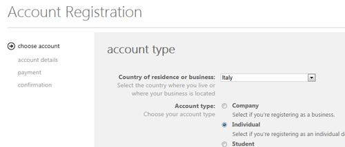 Registrazione di un account individuale, primo step