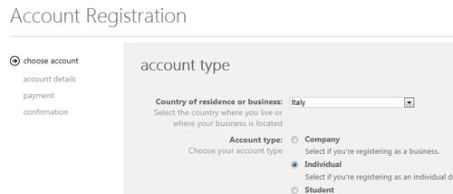 Registrazione di un account individuale, primo step