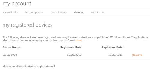 Elenco dei dispositivi registrati