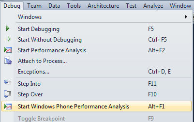 Start Windows Phone Performance Analysis